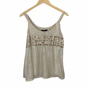 WHBM cream and gold beaded tank top